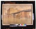 Rovine del Ponte S. Trinita con il ponte provvisorio Bailey dal greto dell'Arno a sud