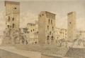 Torre Carducci, degli Amidei e dei Baldovinetti emergenti dalle rovine di via Por S. Maria vedute dal Lungarno Archibusieri