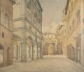 veduta di piazza del Grano a Firenze da via de' Neri