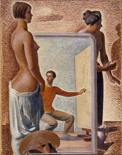 pittore che ritrae una figura femminile nuda